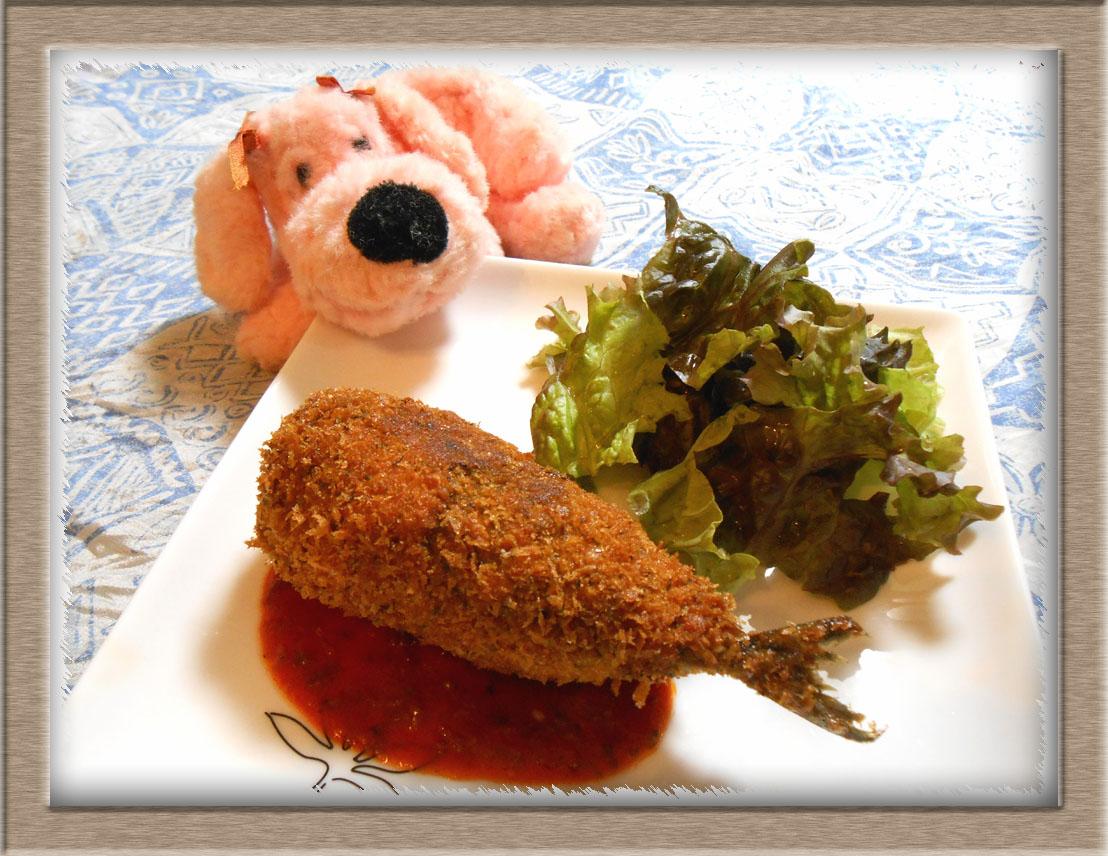 太っちょさんまの明太コロッケ・即席トマトソース (1)