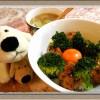 冷めても美味しい『鶏つくね丼』煮汁で作るスープ付