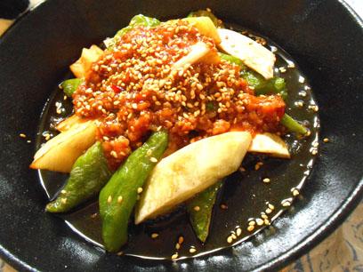 ナス万願寺の肉味噌