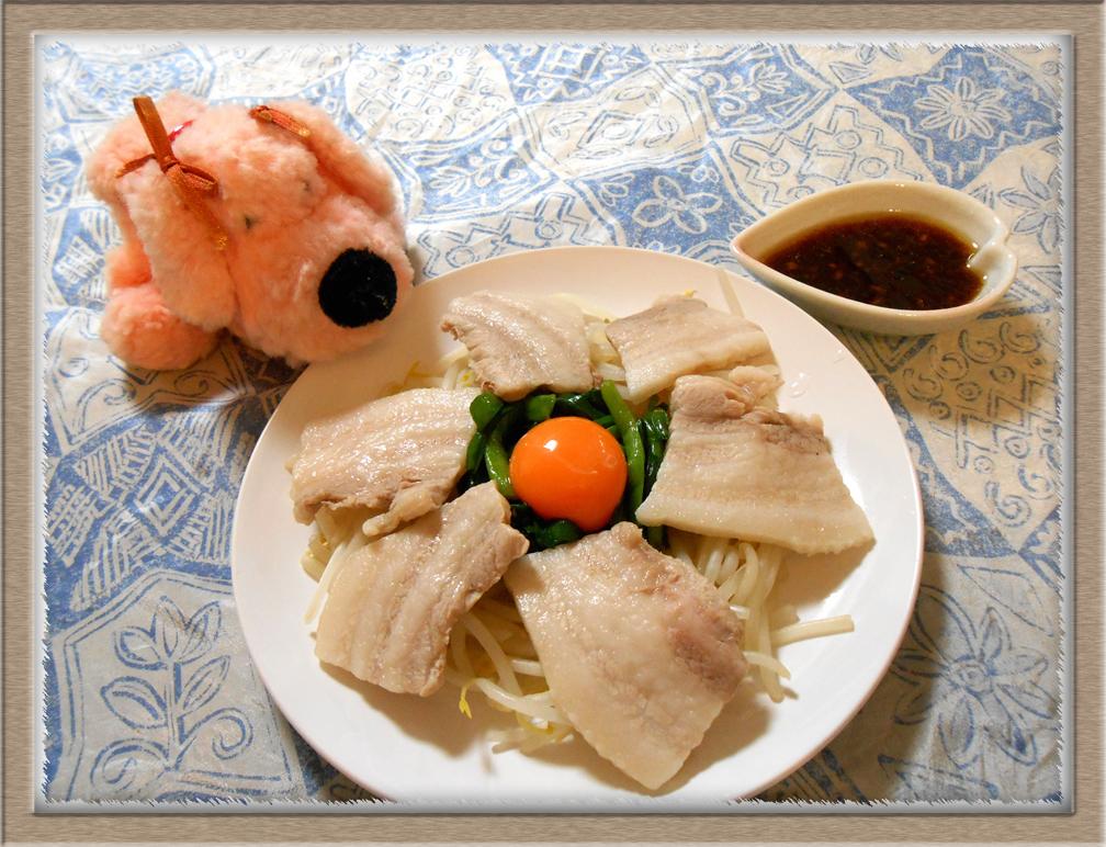 豚ばら肉とニラの香味ダレ