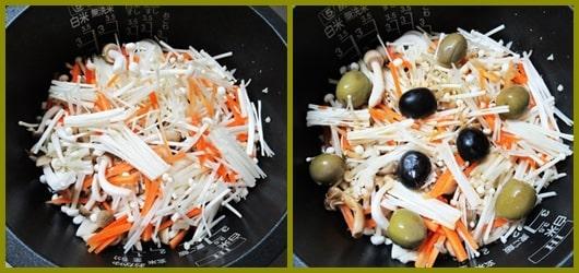 オリーブオイル ジョブチューン オリーブ塩漬け オリーブオイル炊き込みご飯 レシピ 作り方 しめじ えのき にんじん 血糖値スパイク
