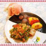 【紅鮭のムニエル~菜の花トマトソース】アスタキサンチンは肌の老化を防ぐ効果アリ!?