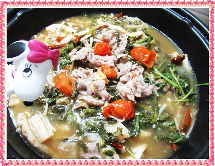 スッキリ,Atsushi,アツシ,豚肉とトマトのさっぱり鍋,レシピ,材料,作り方,美腸,塩麹,アンチエイジング,スープ,